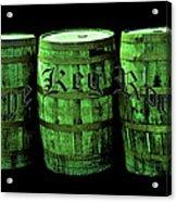 The Keg Room 3 Green Barrels Old English Hunter Green Acrylic Print