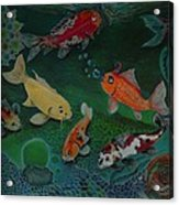 The Koi Life Acrylic Print by Denisse Del Mar Guevara