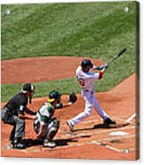 The Laser Show Dustin Pedroia Acrylic Print by Tom Prendergast