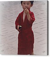 The Little Boy In The Red Silk Dress Acrylic Print
