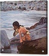 Little Girl And Ganga River Acrylic Print