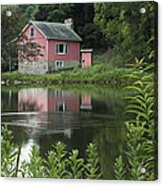 The Little Pink Cabin With Ripples Acrylic Print