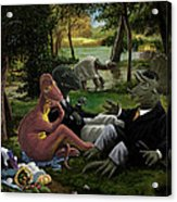 The Luncheon On The Grass With Dinosaurs Acrylic Print