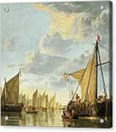 The Maas At Dordrecht Acrylic Print by Aelbert Cuyp