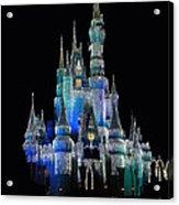 The Magic Kingdom Castle In Frosty Dark Blue Walt Disney World Acrylic Print