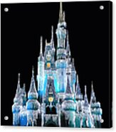 The Magic Kingdom Castle In Frosty Light Blue Walt Disney World Acrylic Print