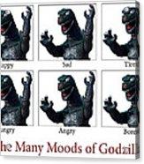 The Many Moods Of Godzilla Acrylic Print by William Patrick