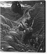 The Mariner As His Ship Is Sinking Sees The Boat With The Hermit And Pilot Acrylic Print by Gustave Dore