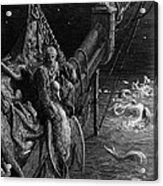 The Mariner Gazes On The Serpents In The Ocean Acrylic Print by Gustave Dore