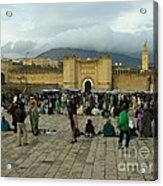 The Market In Fez Acrylic Print by Sophie Vigneault