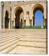 The Massive Colonnades leading to the Hassan II Mosque Sour Jdid Casablanca Morocco Acrylic Print