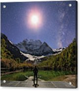 The Milky Way And Waxing Cresent Moon Acrylic Print