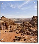 The Monastery And Landscape At Petra In Jordan Acrylic Print by Robert Preston