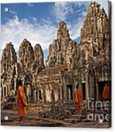 The Monks Of Bayon Acrylic Print by Pete Reynolds