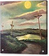The Moon With Three Crosses Acrylic Print