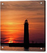 The Muskegon Lighthouse An A Lone Man Fishing Acrylic Print