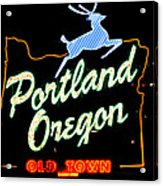 The New Portland Oregon Sign At Night With White Lights Acrylic Print by DerekTXFactor Creative