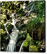 The Old Troll Caught By The Sun Admiring The Forest Waterfall Acrylic Print
