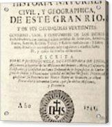 'the Orinoco Illustrated' (1741) Acrylic Print