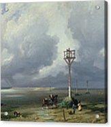 The Passage Du Gois At Noirmoutier, 1859 Oil On Canvas Acrylic Print