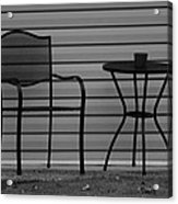 The Patio Chairs In Black And White Acrylic Print