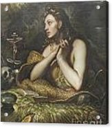The Penitent Magdalene By Domenico Tintoretto Acrylic Print