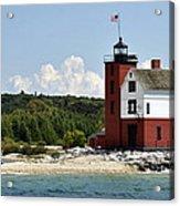 Round Island Lighthouse Mackinac The Picnic Spot Acrylic Print