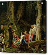 The Pilgrims From The Abbey Of St. Odile Oil On Canvas Acrylic Print