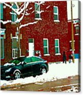 The Point Pointe St Charles Snowy Walk Past Red Brick House Winter City Scene Carole Spandau Acrylic Print