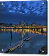 The Portland Oregon Waterfront Blue Hour Acrylic Print