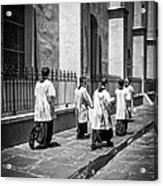 The Procession - Black And White Acrylic Print