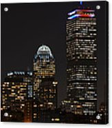 The Prudential Lit Up In Red White And Blue Acrylic Print