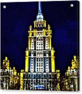 The Raddison-stalin's Wedding Cake Architecture-in Moscow-russia Acrylic Print