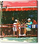 The Red Awning Cafe On St. Denis - A Shady Spot To Enjoy A Cold Beer On A Very Hot Sunday In July Acrylic Print