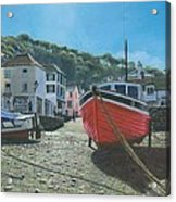 The Red Boat Polperro Corwall Acrylic Print