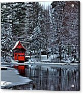 The Red Boathouse - Old Forge Ny Acrylic Print