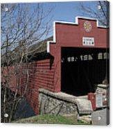 The Red Bridge Or Wertz's Cover Bridge Acrylic Print