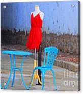 The Red Dress Lunch Special Acrylic Print