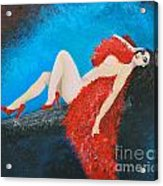 The Red Feather Boa Acrylic Print