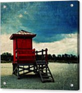 The Red Lifeguard Shack Acrylic Print