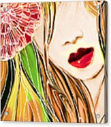The Red Lips Acrylic Print by Hilda Lechuga