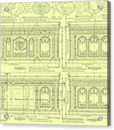 The Resolute Desk Blueprints - Soft Yellow Acrylic Print by Kenneth Perez