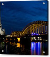 The Rhine Rail Bridge And Cathedral Of Cologne Acrylic Print