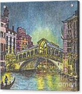 Relections Of Light And The Rialto Bridge An Evening In Venice  Acrylic Print