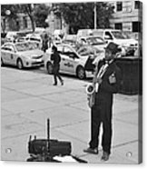The Saxman In Black And White Acrylic Print