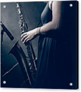 The Saxophonist Sounds In The Night Acrylic Print