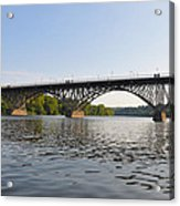 The Schuylkill River And Strawbery Mansion Bridge Acrylic Print by Bill Cannon