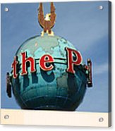 The Seattle Pi Globe Sign Acrylic Print by Kym Backland