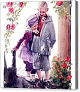 Watercolor Of A Boy And Girl In Their Secret Garden Acrylic Print