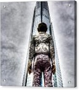 The Shard And Man Statue Acrylic Print